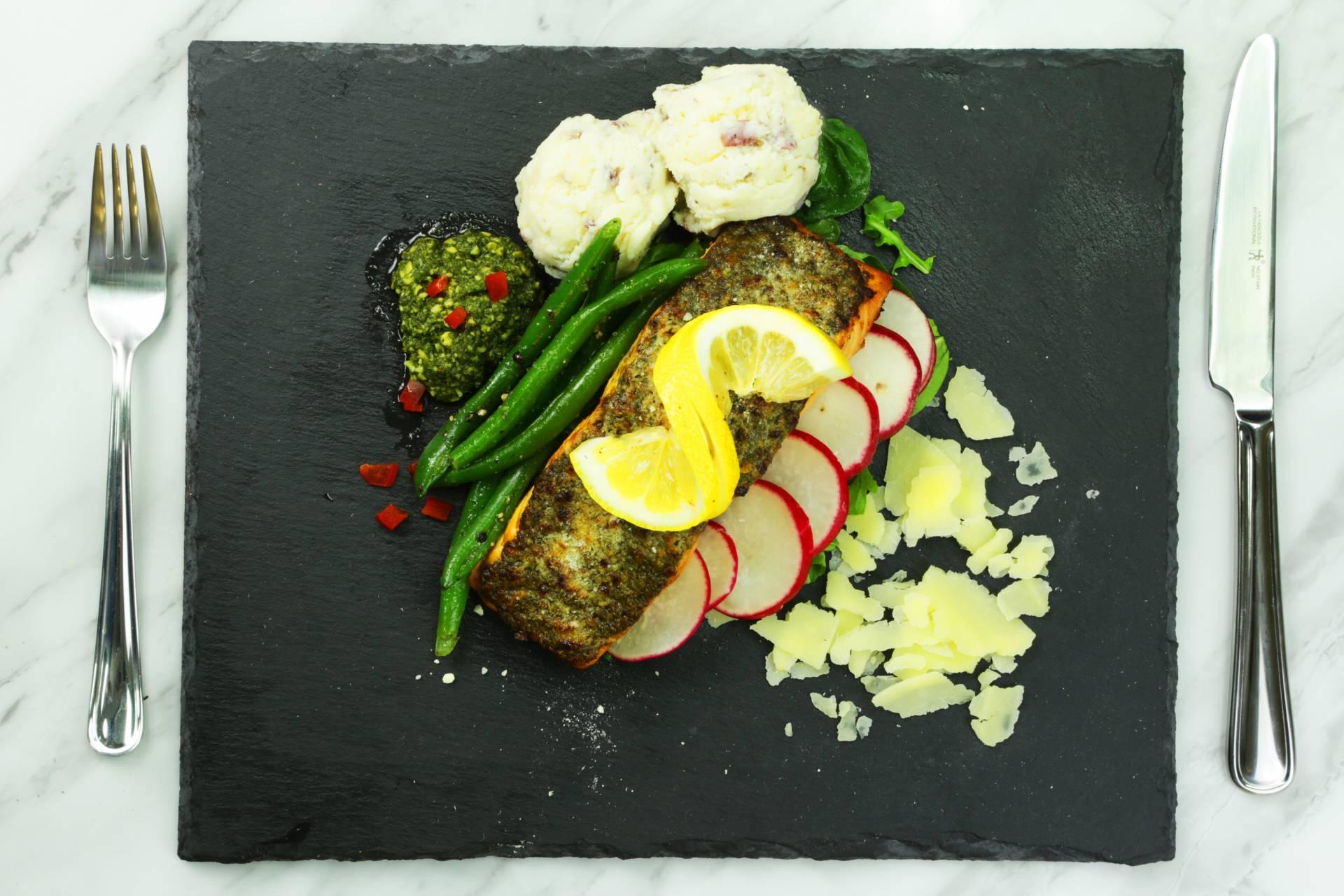 Pesto Encrusted Salmon